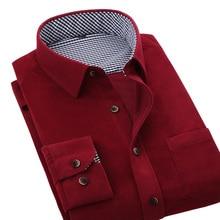 Frühling Herbst Neue Männer Casual Shirts Weiseplaids Patchwork Innen Langarm Dicke Hohe Qualität Marke Männer Cord Shirts