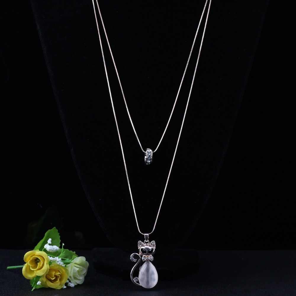 WEVENI Tuyên Bố Đá Mắt Mèo Vòng Cổ Mặt Dây Chuyền Rhinestone Inlay Chain Choker Collar Sức Cho Nữ Thời Trang Cô Gái Phụ Kiện