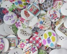 WBNVSS Mixed 30mm buttons randomly 50 pieces hand made craft design wood button printed
