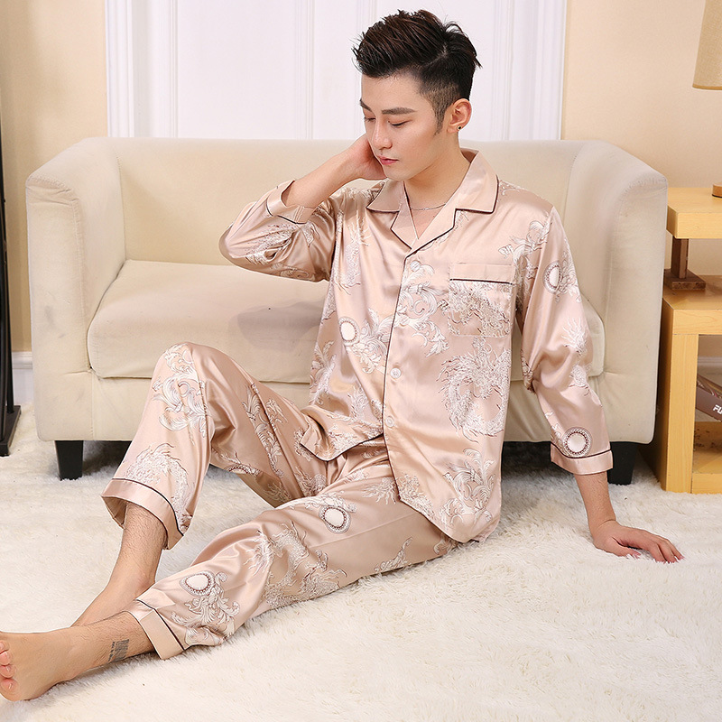 Men Spring Silk like Pajamas Sets Male Home Clothing Summer Sleepwear Two Pieces half sleeve prints autumn pyjamas