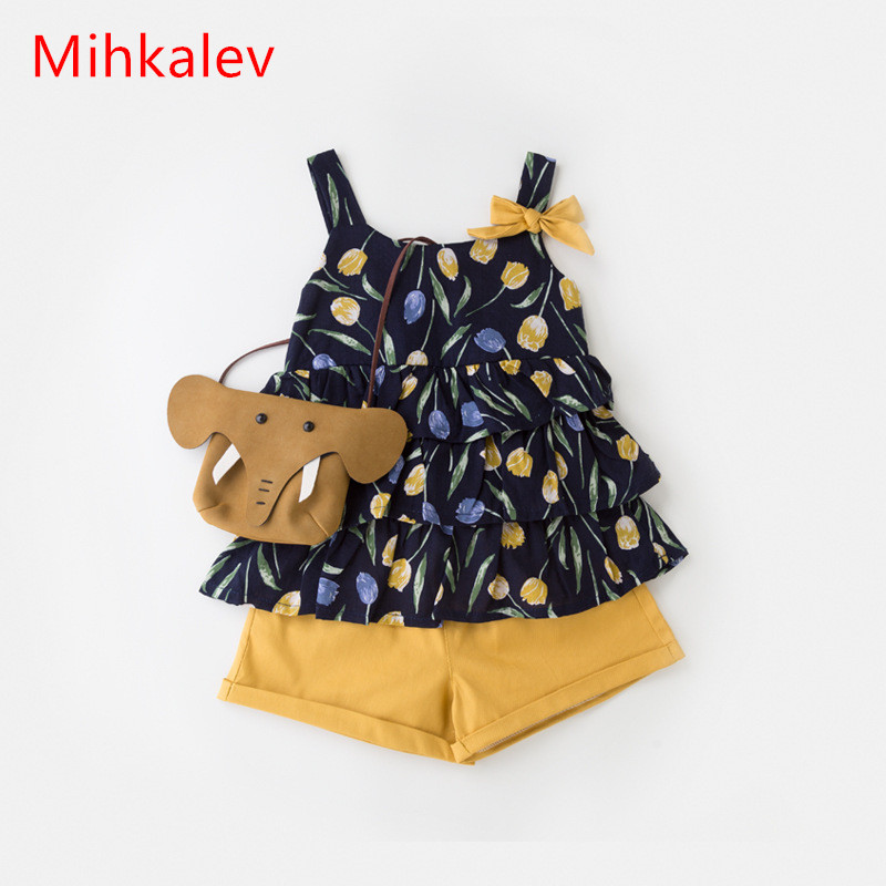Mihkalev Fashion toddler girls summer clothing set sleeveless top and shorts children 2pcs clothes suits kids tracksuits outfits 1 7y toddler kids clothes 2017 fashion children girls leopard hooded vest t shirt tops hole jean denim shorts 2pcs clothing set