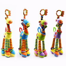 Cute Rainbow Deer Plush Toys Quality Bed Baby Mobile Hanging Rattles Giraffe With Bell Ring Infant Teether Toy Gift