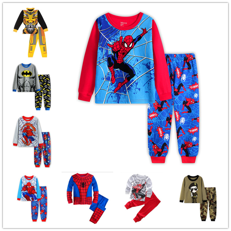 2PCS Kids Pajamas Sets Baby Boys Cartoon Long Sleeve T-shirt+Pants Children Sleepwear Clothes Autumn Spring Outfits