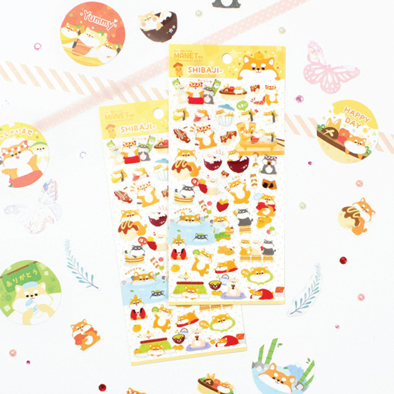 1 Sheet Cartoon Fat Cute Shabi Dog Decorative Stationery Stickers Scrapbooking DIY Diary Album Stick Label Stickers