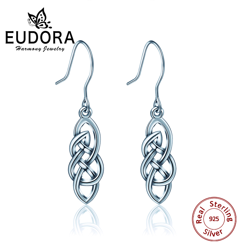 EUDORA Unique 100% Real 925 Sterling Silver Good Luck Irish Celtics Knot Earring Women Fine Jewelry Charming Vintage Dangler