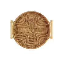 Manual Rattan Tray Round Bread Fruit Snack Teacup Storage Trays Handmade Basket Japanese style Tea Tray Decorative Tray Z587