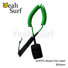 Coil Leash Surfing Leash Surfboard Leash Green Surf Accessories 9ft-11ft 8mm Leash
