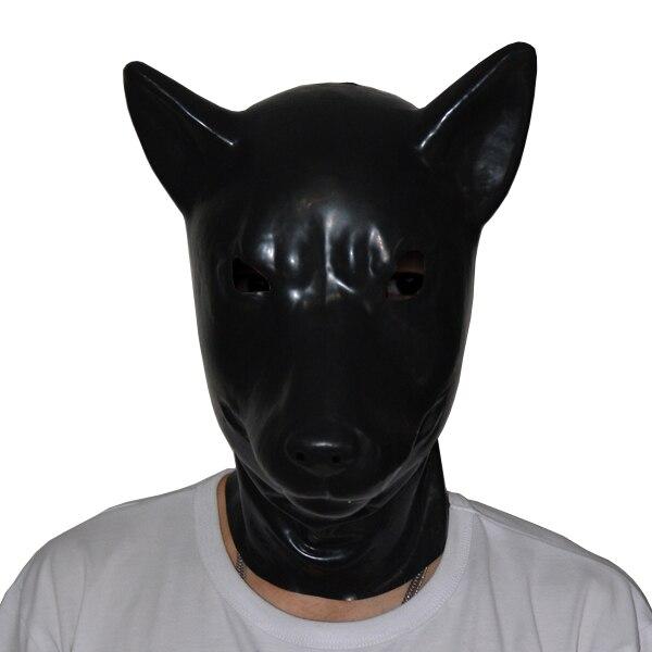 (LS06) fétiche Latex pleine tête latex cochon chien chat léopard loup cheval animal tête esclave masque en caoutchouc capuche SM masque étouffant
