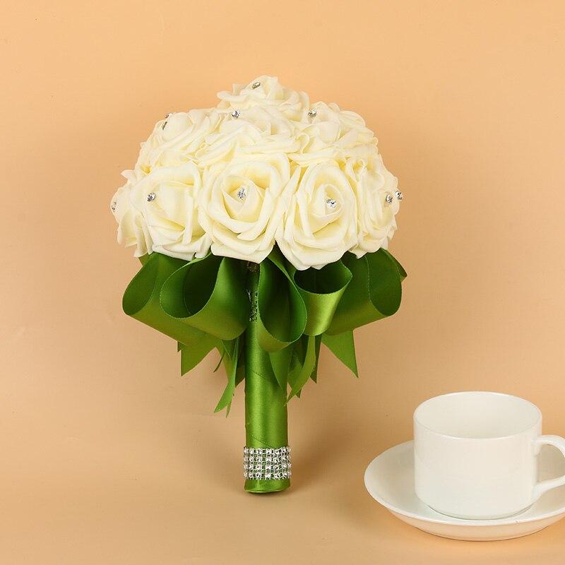 Wedding-Bouquet Rose-Flower Crystals Buque-De-Noiva Artificial Green Foam With Ribbon