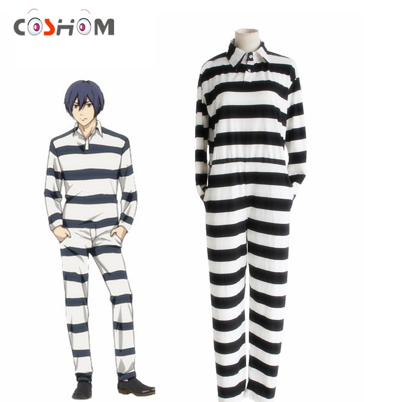 Coshome Prison School Fujino Kiyoshi Cosplay Suits Costumes Men Adult Black & White Striped Prison Costumes Halloween Conjoined