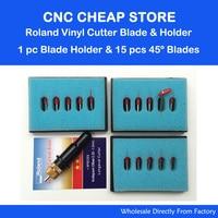 15pcs 45 Deg GCC Roland Lettering Knife Blade Roland Plotter Cutter Vinyl Cutting 1pc 12mm Clamp