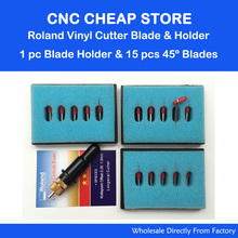 15pcs 45 Deg GCC Roland lettering knife blade Roland plotter cutter vinyl cutting +1pc 12mm Clamp Diameter Roland Blade Holder