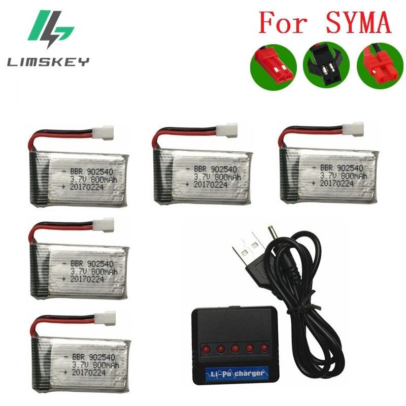 Limskey 800 mAh 3,7 V 25c lipo batería + (5-en-1) cargador para SYMA X5 X5S X5C X5HW X5HC RC Drone Quadcopter batería de repuesto partes #1
