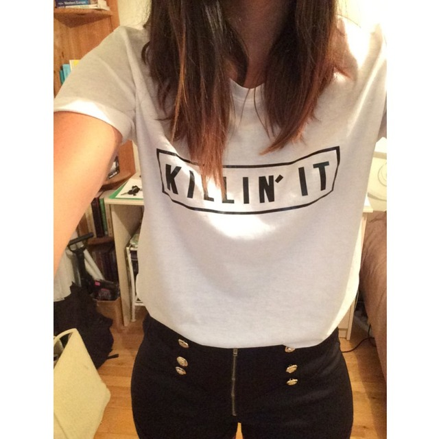 Killin women's fashion cotton T-shirts, tops Harajuku Tee white short sleeve black T-shirt, casual clothing nightclub.