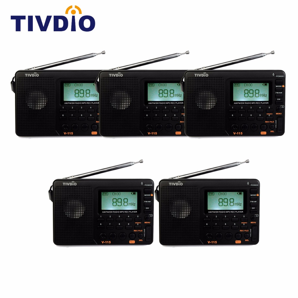 5pcs TIVDIO V-115 FM/AM/SW Radio Multiband Radio Receiver MP3 Player REC Recorder Portable Radio with Sleep Timer F9205A tivdio portable fm radio dsp fm stereo mw sw lw portable radio full band world receiver clock
