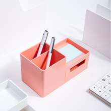 Deli Storage Box Multi-function Desktop Pen Holder Student Stationery Holder with Drawer Desk Accessories and Organizer Supplies