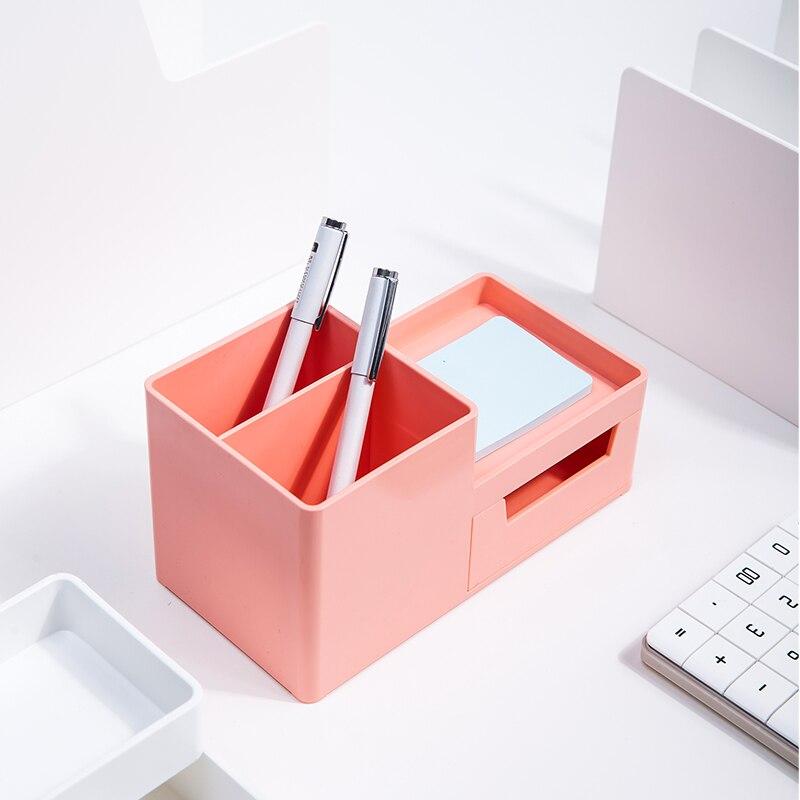 Deli Storage Box Multi-function Desktop Pen Holder Student Stationery Holder with Drawer Desk Accessories and Organizer Supplies
