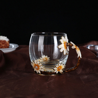 DHD Enamel Glass Mugs With Spoon And Mat New Classical Glass Mug Luxury Glass Cups With