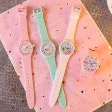 Мультфильм Розовая птица силиконовый ремешок для часов женские часы милый маленький свежий мягкая девушка карамельный цвет студент часы
