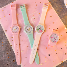 Cartoon Pink Bird Watch Silicone Strap Female Watch Cute Little Fresh Soft Girl Girl Candy Color Student Watch