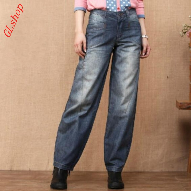 Spring Fashion Retro NEW Womens Loose Wide Leg Pants Straight Jeans Mid Waist Trousers Bloomers Size smlxl2xl3xl 100