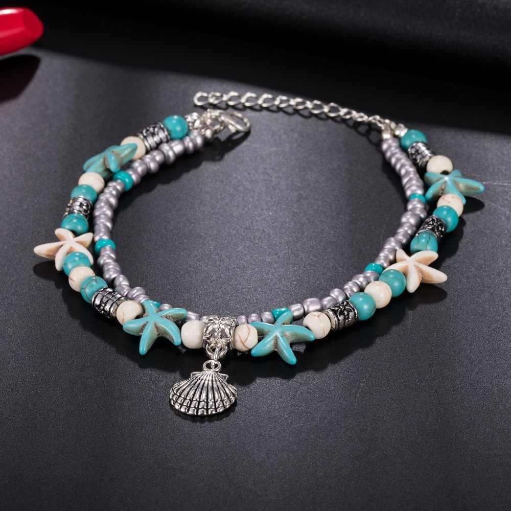 KISSWIFE Винтаж оболочки ножные браслеты из бисера для женщин новый многослойный ножной браслет богемные пляжные ювелирные изделия, цепи для лодыжки подарок
