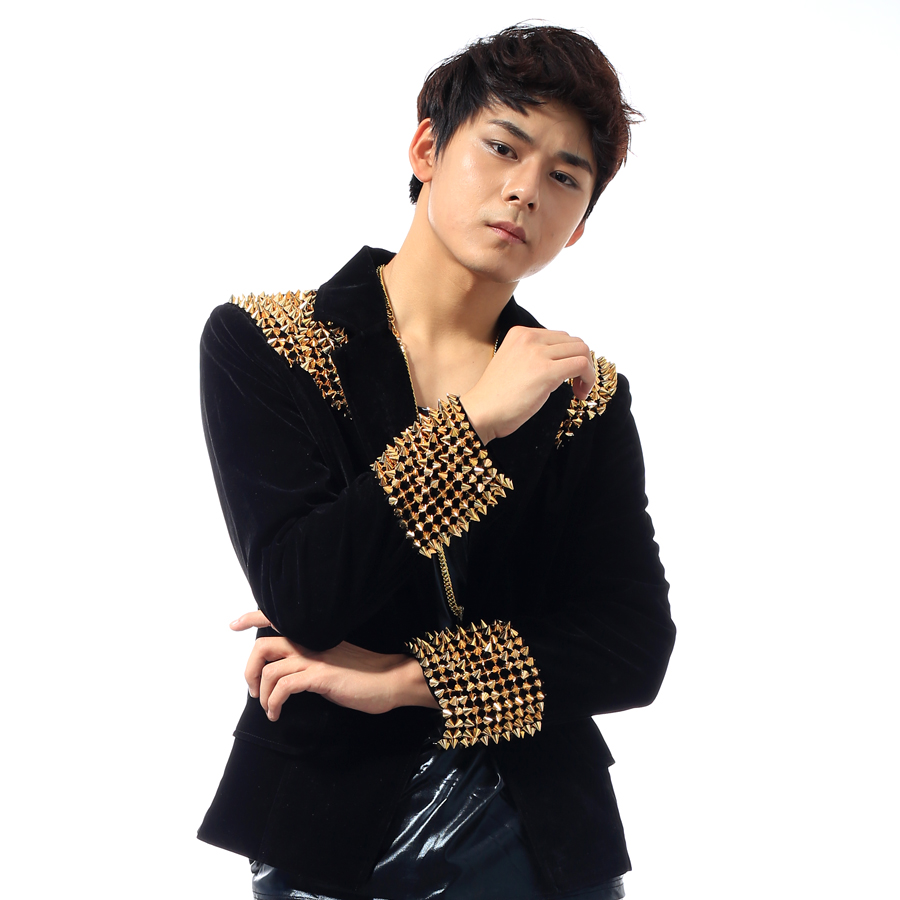 S-5XL!!! 2017  DJ stage costumes Small suit male black gold rivet brief paragraph cultivate one's morality The singer's clothing