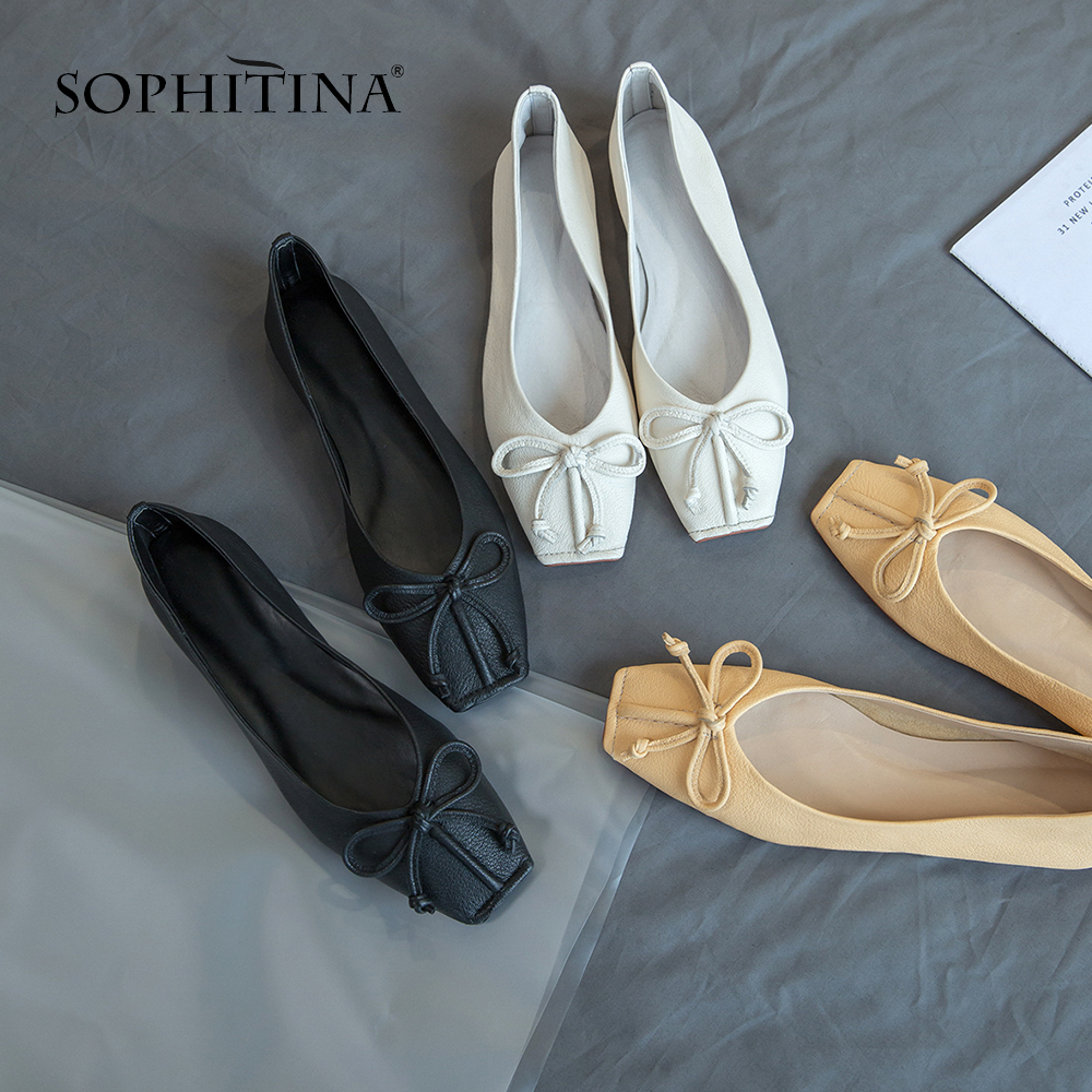SOPHITINA Fashion Butterfly not Flats Solid Comfortable Square Toe Casual Shoes High Quality Sheepskin Hot Sale