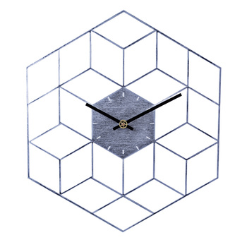 35 X 40cm Creative Iron Cube Wall Clock Timer Watch Battery Operated Silent Wall Clocks Home Decor Decoration - Scale Golden 8