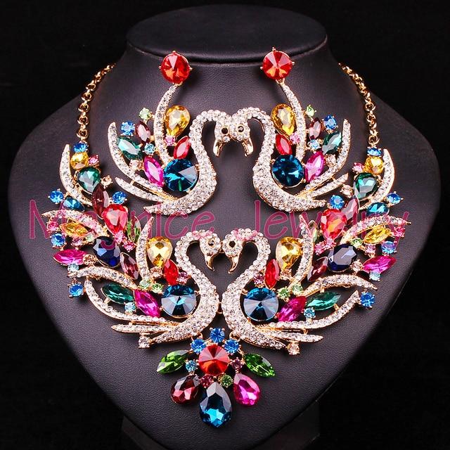 יפה קריסטל ברבור כלה תכשיטי סטי תכשיטי שרשרת עגילי סט עבור הכלה מסיבת חתונת תלבושות אביזרי חג המולד מתנה