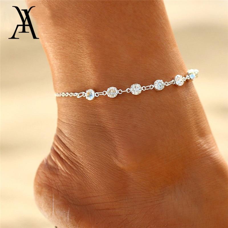 2018 Fashion Crystal Anklets For Women Gold Silver Color Boho Anklet Bracelet on the Leg Foot Bracelets Bohemian Jewelry New