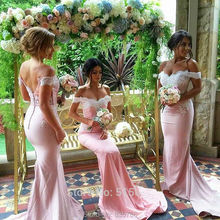 Hot Sale robe demoiselle dhonneur Mermaid Wedding Party Gowns Pink Off the Shoulder  Long Bridesmaid Dresses Gown with Lace
