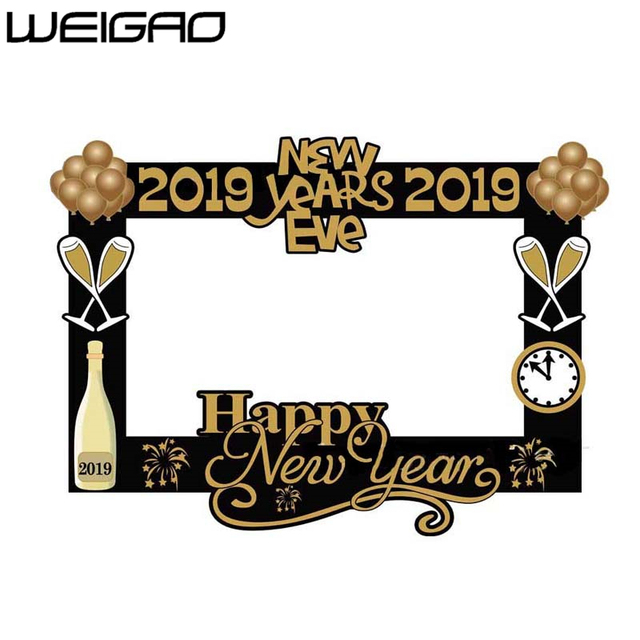 weigao 2019 happy new year photo black gold frame photo booth props paper craft christmas decoration