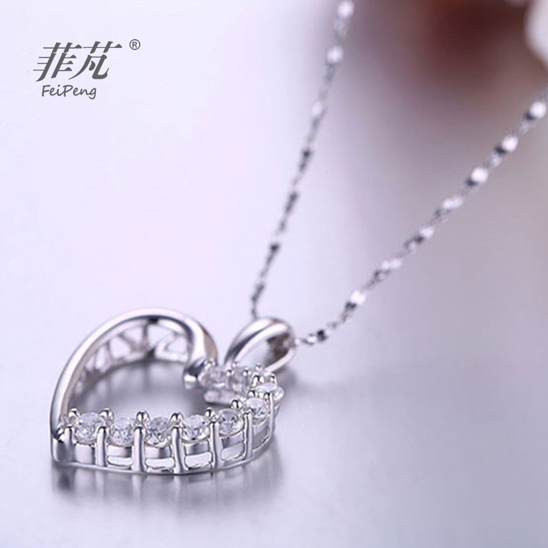 925 Sterling Silver Heart Pendant Necklace with Cubic Zirconia Crystal Stone for Beautiful Gift for Women/Girl