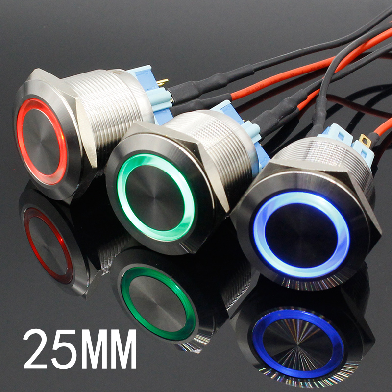 16mm 12V Blue LED Momentary Push Button Metal Switch Car Boat Bell Horn DSUK