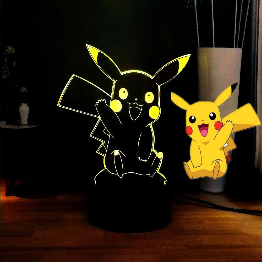 Novelty Pikachu 3D Optical Lamp Cartoon Acrylic LED Night Light Pokemon USB Touch Bedside Lamp Kids Birthday Gift Free Shipping