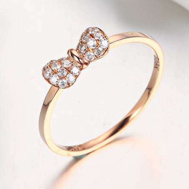 Bowknot Butterfly Knot Diamond 0.04 Carat Certificated Round Wedding Ring  For Women 18K White Gold Ring
