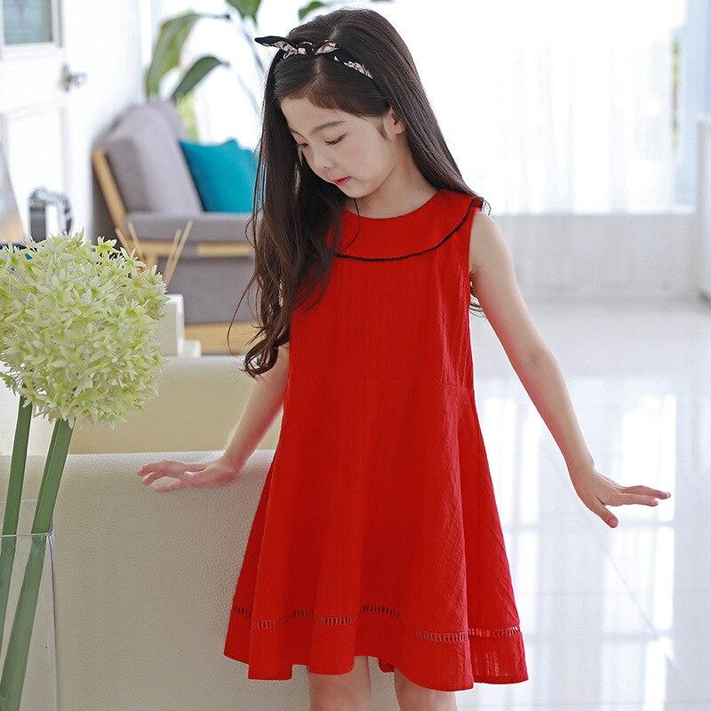 купить red peter pan collar sleeveless dress baby big girls summer 2018 cotton dresses for kids girls princess dress children clothing дешево