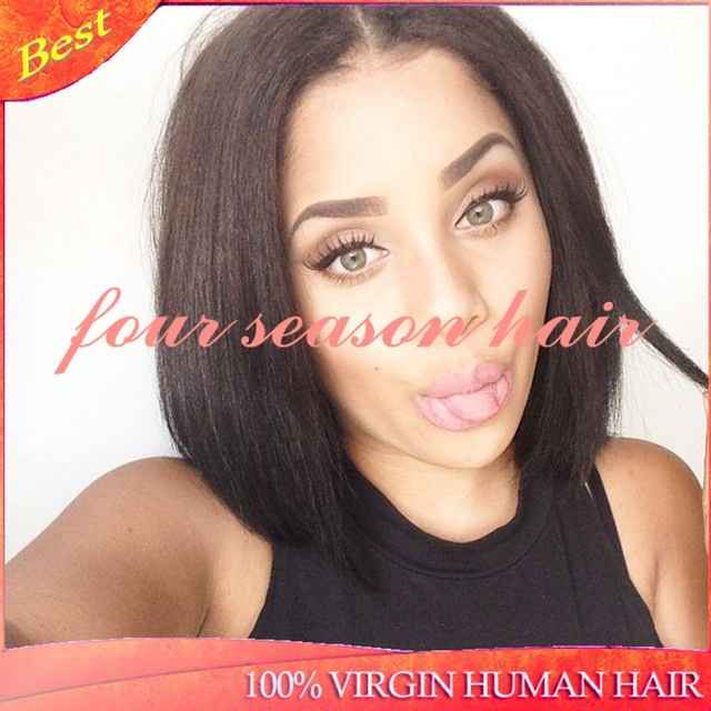 fashion bob wig short black hair u part wigs on middle part for