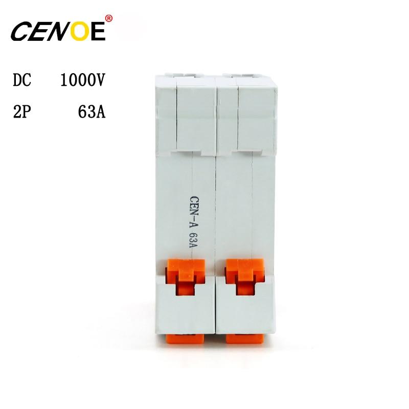 CE certified CENOE DC 1000V 2P 63A dc breaker din rail 63A mini Circuit breaker for global solar photovoltaic power generation dhl ems 4 sets new for sch neider ic65h dc 2p c4a breaker