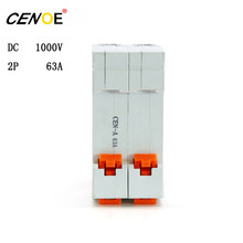 CE certified CENOE DC 1000V 2P 63A dc breaker din rail 63A mini Circuit breaker for global solar photovoltaic power generation(China)