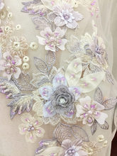 1 pc Exquisite 3D Handbe Beaded Flower Lace Applique in Lavender for Ballet,Dance Costumes, Bridal Bodice Girl Headband