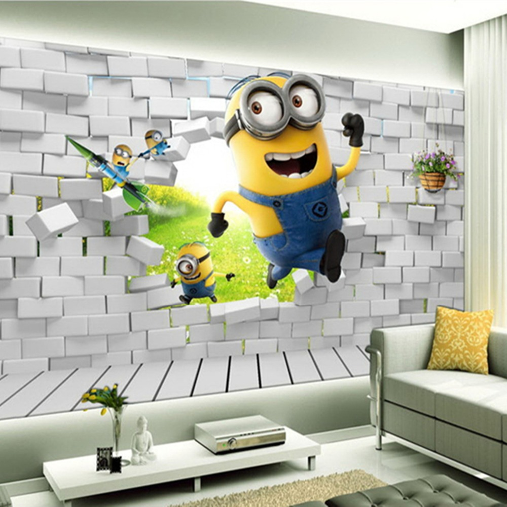Minion Bedroom Wallpaper Aliexpresscom Buy Custom Mural Brick Cute Minion 3d Cartoon