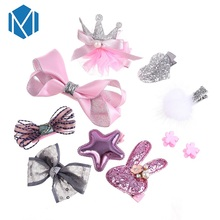 M MISM 1 Set=10Pcs Princess Hair Clips Bowknot/Star/Barrettes Pins For Children Gift Party Headwear Set Accessories