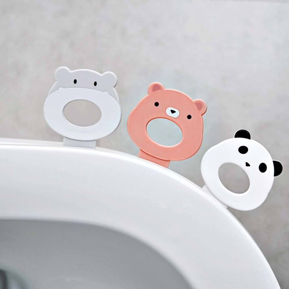 2 piezas cubierta de asiento de inodoro mango de elevador de limpieza higiénico autoadhesivo lindo asiento de inodoro Lifters productos de baño