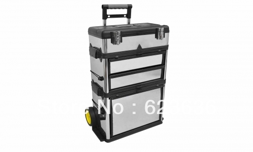 3 Part Rolling Tool Box With 2 Drawer Storage Soft Rubber Wheels