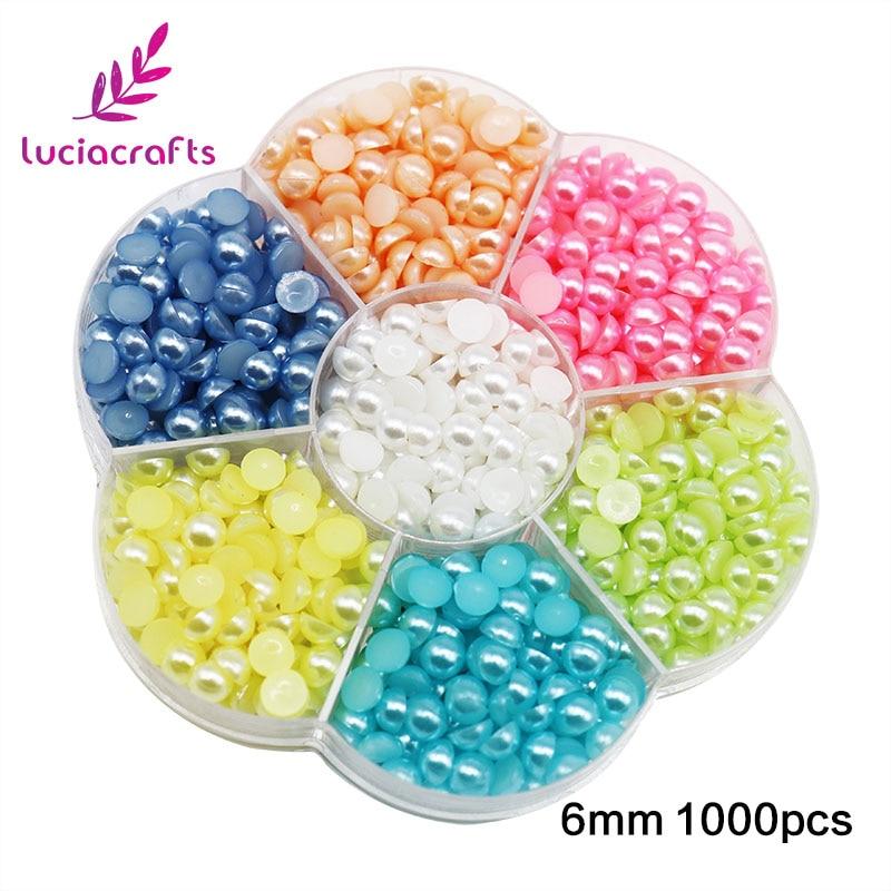 Lucia ремесел 4/5/6 мм полукруглый искусственный жемчуг ABS шарики объединенное украшение одежды DIY принадлежности для скрапбукинга 15010518