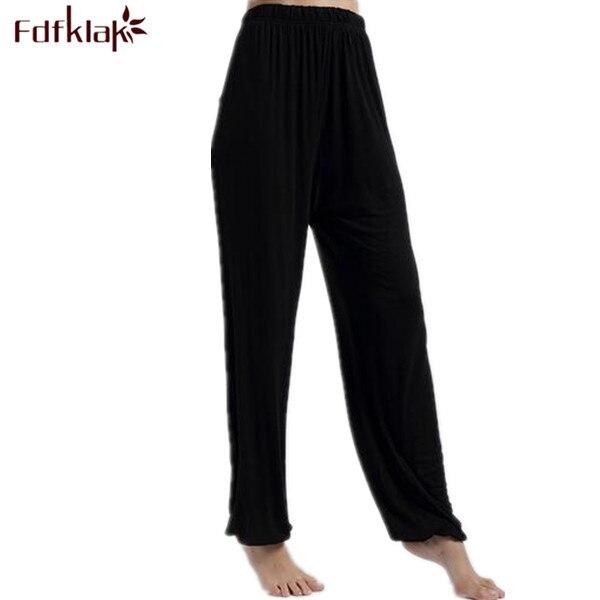 ed6ba0a9fb611 Printemps Été Femmes Pantalon Pour La Maison Pyjama Bas Pantalons De Nuit  De Coton de Femmes Pyjama Pantalon Noir Plus La Taille XL XXXL Q207 dans  Sommeil ...