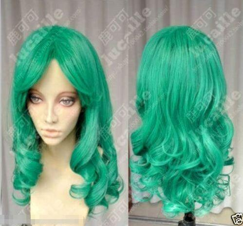 Sailor Moon Sailor Neptune Long Green Curly Cosplay Party Hair Wig long curly green synthetic lace front cosplay party wig