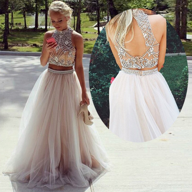 Luxury Real Sample Two Pieces Crystal Beads Prom Dresses High Neck Crop Top  Open Back Party Dresses Nude Tulle Long Evening Gown 5fbd09ce7